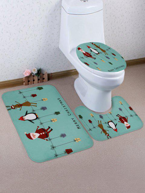 Father Christmas Penguin Deer Print 3 Pcs Bathroom Toilet Mat - multicolor