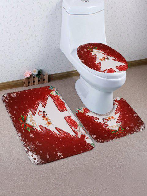 Christmas Tree Print 3 Pcs Bathroom Toilet Mat - multicolor