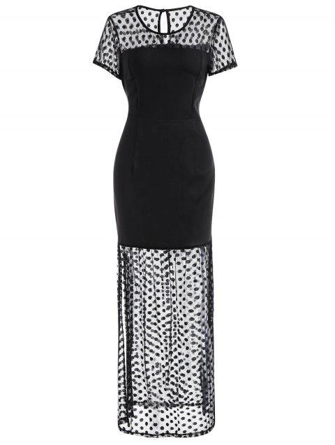 Mesh Panel Maxi Dress - BLACK XL