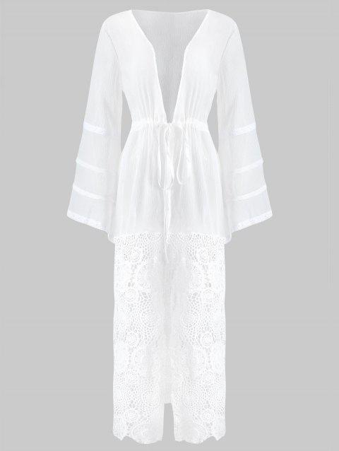 Lace Panel See Through Cover Up - WHITE M