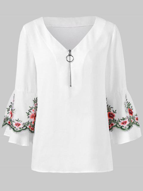 Embroidered Mesh Panel Flare Sleeve Blouse - WHITE M