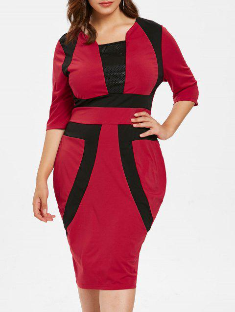 Plus Size Two Tone Bodycon Dress - RED 1X