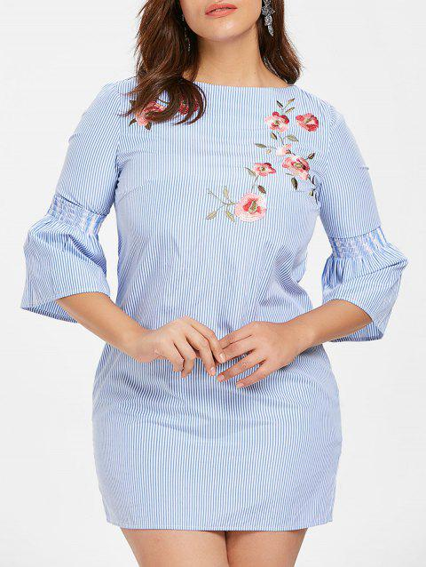 Plus Size Bell Sleeve Embroidered Dress - LIGHT BLUE 4X