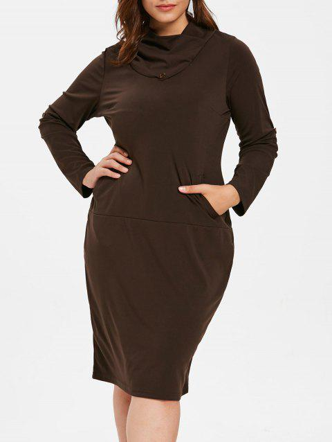 Plus Size Turn Down Collar Bodycon Dress - DEEP COFFEE L