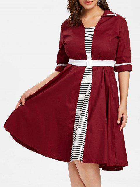 Plus Size Stiped Insert A Line Dress - RED 1X