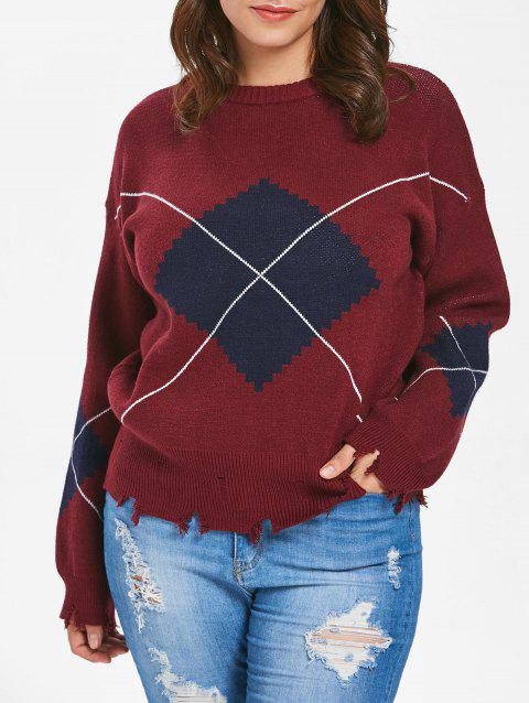 Plus Size Geometric Raw Hem Sweater - RED WINE 1X