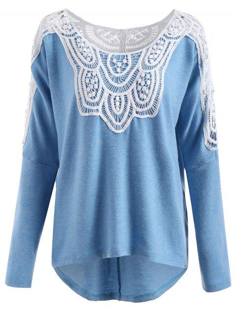 Lace Insert Pullover Sweater - SKY BLUE 2XL