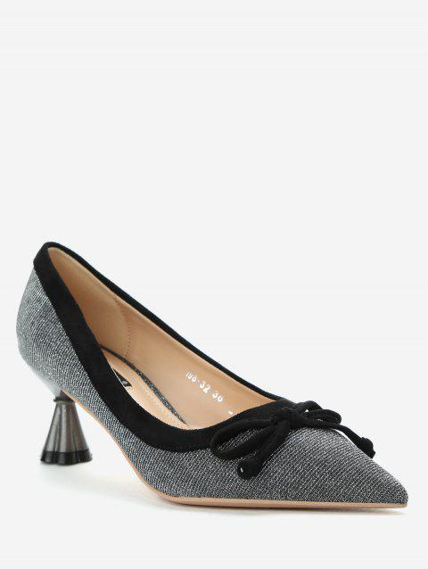 Sparkling Pointed Toe Bowknot Pumps - BLACK EU 38