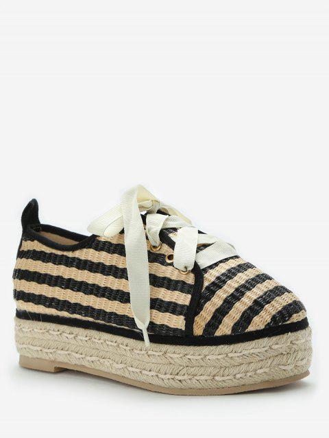 Low Heel Striped Straw Platform Shoes - APRICOT EU 35