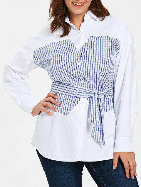Long Sleeve Plus Size Tartan Panel Shirt - WHITE 4X