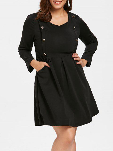 Plus Size Buttoned Knee Length Dress - BLACK 3X