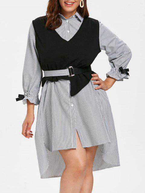 Striped Plus Size Two Piece Shirt Dress with Belt - BLACK 2X