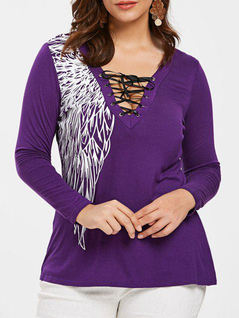 Back Lace Panel Plus Size Printed T-shirt - PURPLE 5X