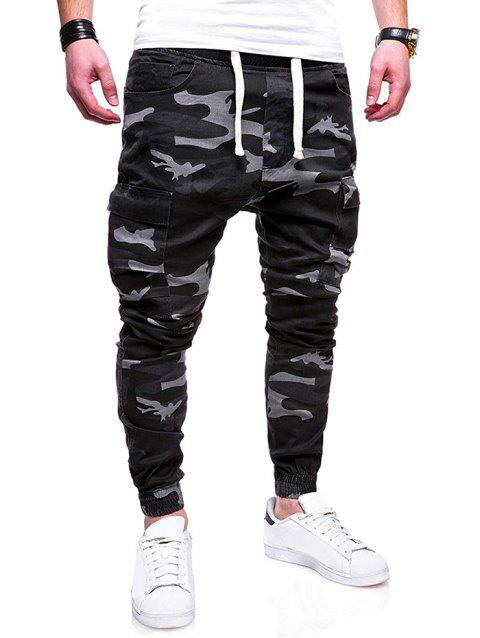 Drawstring Camouflage Multi Pocket Pants - ASH GRAY L