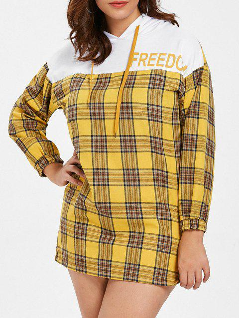 Plus Size Plaid Hooded Dress - GOLDENROD 1X
