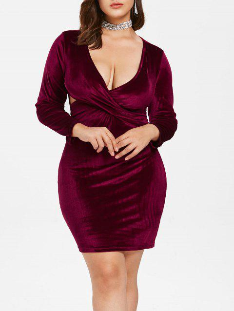 Plus Size Plunging Velvet Bodycon Dress - RED WINE 2X