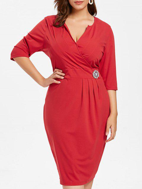 Plus Size Sheath V Neck Dress - RED 5X