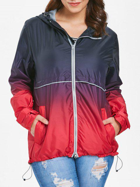 Plus Size Hooded Ombre Zip-Up Jacket - BLACK 2X