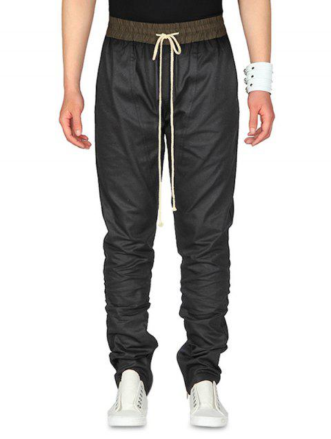 Contrast Color Drawstring Waist Jogger Pants - BLACK XL