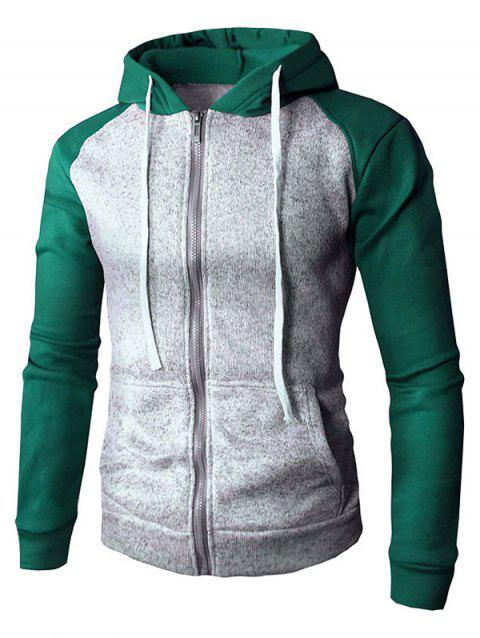 Drawstring Color Block Zip Up Hoodie - GREEN M