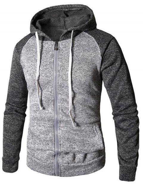 Drawstring Color Block Zip Up Hoodie - DARK GRAY 3XL