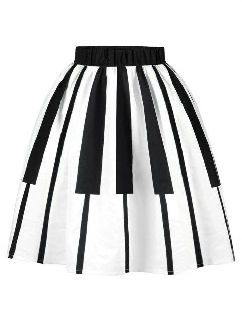 Plus Size Piano Print A Line Skirt - WHITE 5X