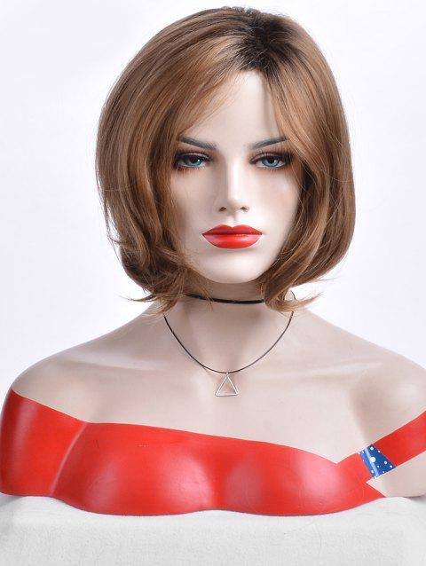 Short Oblique Bang Capless Colormix Straight Synthetic Wig - multicolor