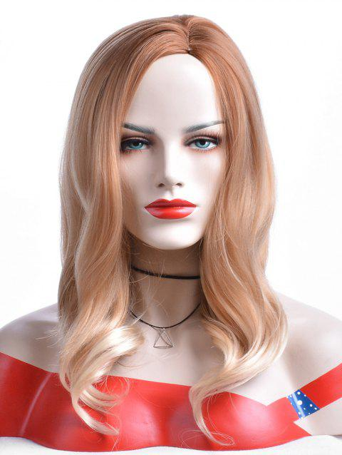 Long Side Parting Wavy Colormix Heat Resistant Synthetic Wig - multicolor