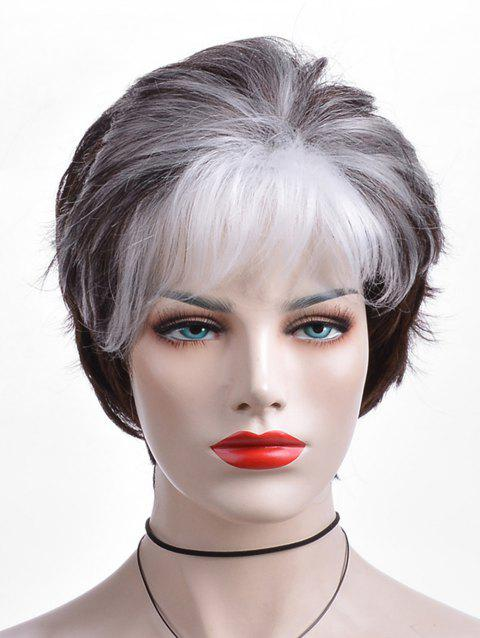 Short Colormix Side Bang Layered Straight Capless Synthetic Wig - multicolor