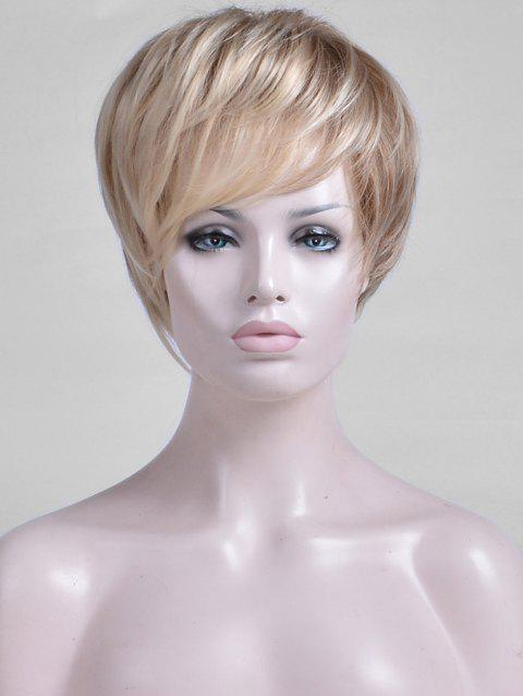 Oblique Bang Colormix Short Straight Capless Synthetic Wig - multicolor