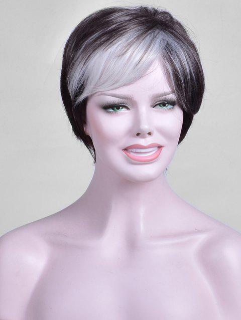 Short Colormix Inclined Bang Capless Straight Synthetic Wig - multicolor