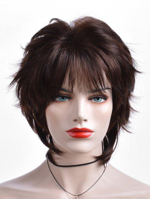 Short Inclined Fringe Layer Straight Heat Resistant Synthetic Wig - BROWN