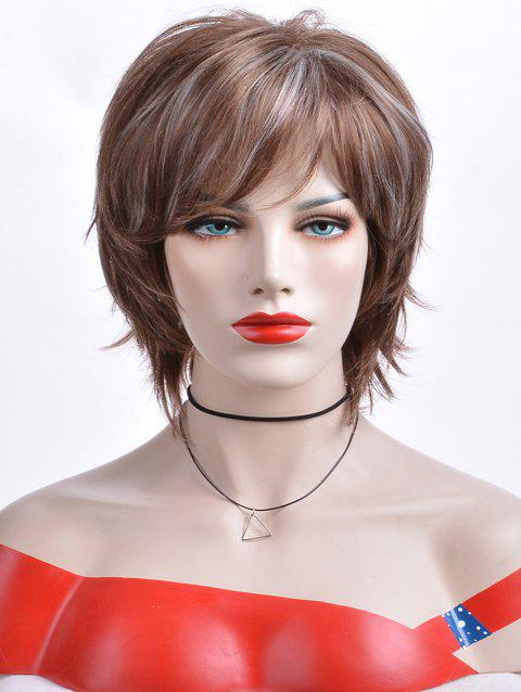 Short Highlight Inclined Bang Layered Natural Straight Synthetic Wig - multicolor