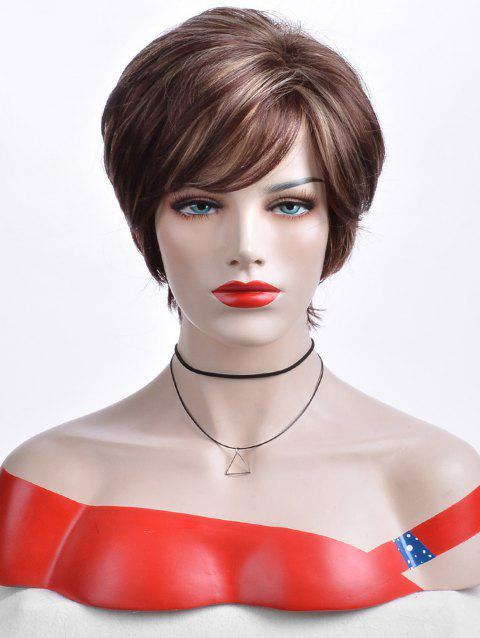 Short Inclined Bang Colormix Layered Straight Synthetic Wig - multicolor