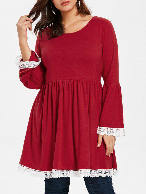 Plus Size Flare Sleeve Lace Trim Peplum Tee - RED WINE 2X