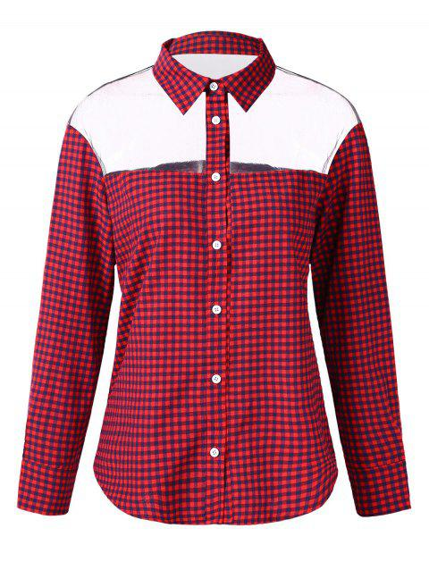 See Through Gingham Print Shirt - RED M