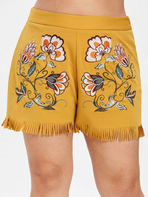 Plus Size Zipper Floral Embroidered Shorts - BEE YELLOW 4X