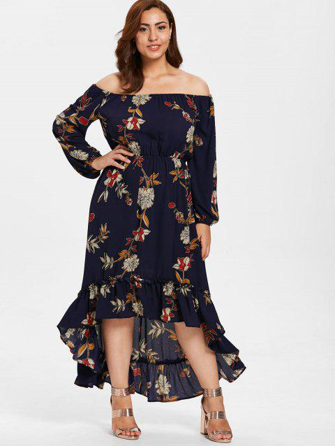 55 Off 2018 Plus Size Off Shoulder Flower Print Dress In Midnight