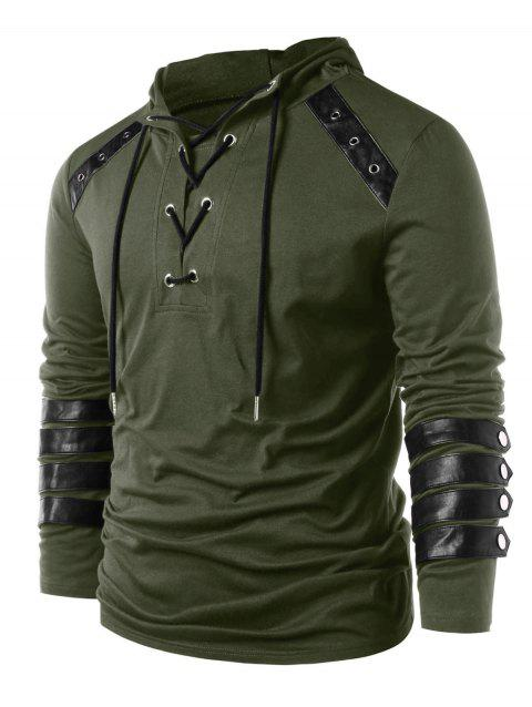 Lace Up Drawstring Hoodie - ARMY GREEN L
