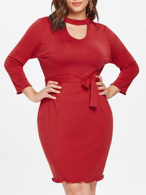Plus Size Long Sleeve Belted Bodycon Dress