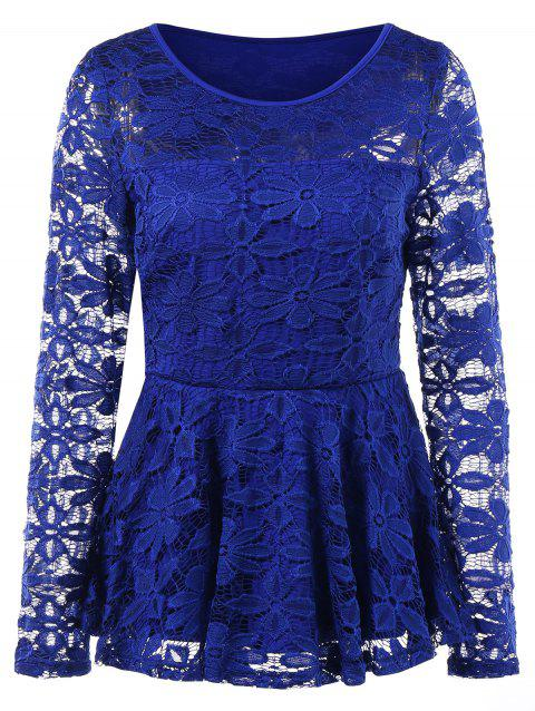 Long Sleeve Floral Lace Skirted Blouse - ROYAL BLUE M