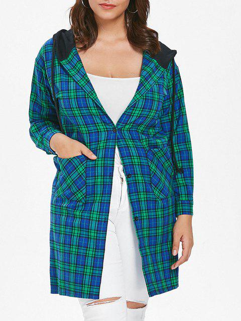 Plus Size Casual Plaid Coat - MACAW BLUE GREEN 2X