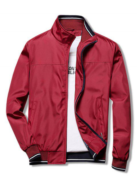 Casual Zippers Stand Collar Jacket - RED WINE M