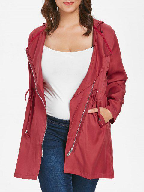 Plus Size Drawstring Oblique Zip Coat - RED L