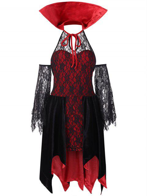 Halloween Vampire Costume Lace Dress - RED L