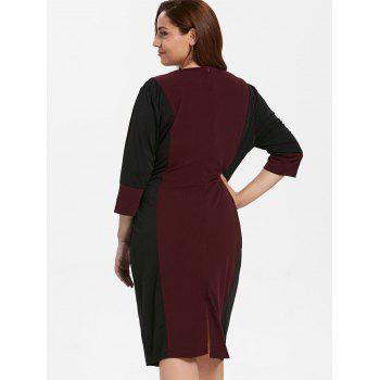 Plus Size Color Block Fitted Bodycon Dress - RED WINE L