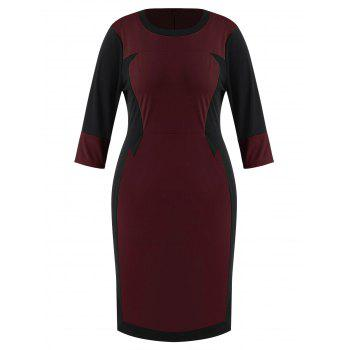 Plus Size Color Block Fitted Bodycon Dress - RED WINE 3X
