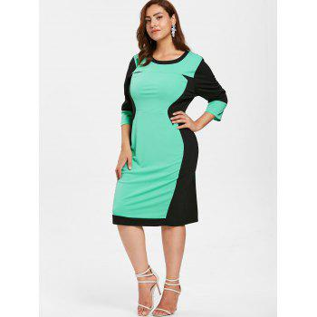 Plus Size Color Block Fitted Bodycon Dress - AQUAMARINE 1X