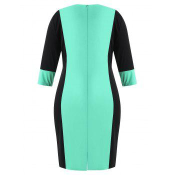 Plus Size Color Block Fitted Bodycon Dress - AQUAMARINE 3X