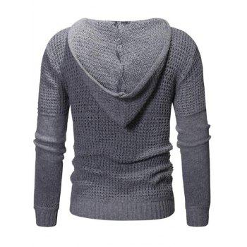 Solid Color Claw Button Hooded Sweater - DARK GRAY M